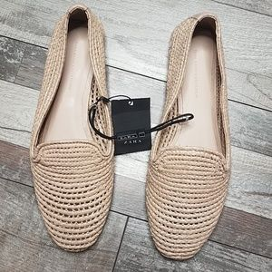 Zara tan slip on flats loafers 7.5 38 NWT
